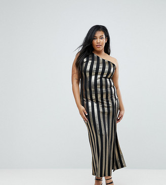 John Zack Plus One Shoulder Contrast Stripe Maxi Dress