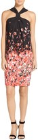 St. John Black Flamingo Degrade Floral Print Halter Dress