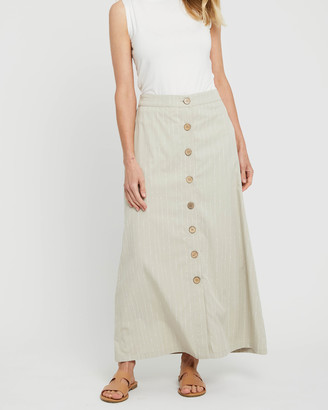 Bamboo Body - Women's Neutrals Maxi skirts - Woven Button Skirt - Size One Size, XS at The Iconic