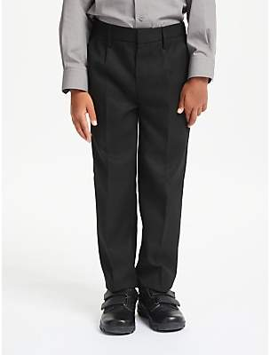 John Lewis & Partners Boys' Regular Fit Easy Care School Trousers, Black