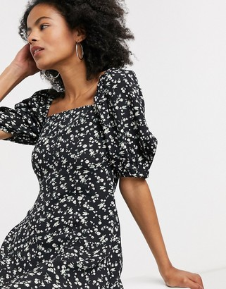 And other stories & floral print button through mini dress in black