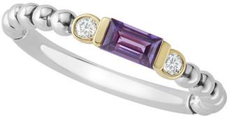 Lagos 18k Beaded Stacking Band Ring w/ Diamonds, Size 6
