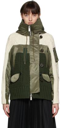 Sacai Khaki and White Wool Cable Knit Jacket
