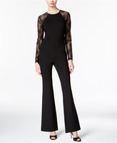 Bar III Flared Lace-Contrast Jumpsuit, Only at Macy's