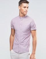 Asos Casual Skinny Oxford Shirt In Light Burgundy