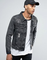 Threadbare Black Badged Denim Jacket