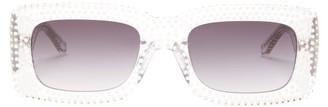 Linda Farrow X The Attico Stella Rectangle Acetate Sunglasses - Womens - Clear