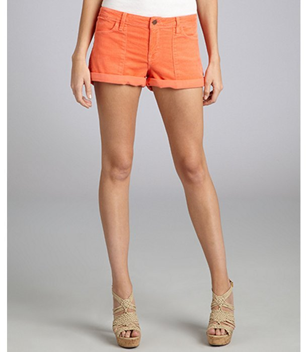 Genetic Denim coral cotton blend corduroy 'The Shelby' mini cuffed shorts