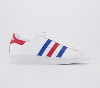 adidas Superstar Trainers White Blue Red