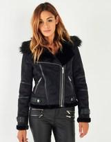 Lipsy Faux Fur Bonded Biker Jacket