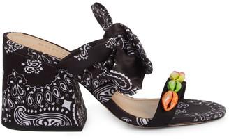 Schutz Malia Embellished Bandana-Print Slide Sandals