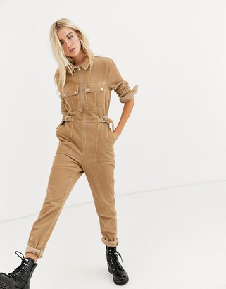 Topshop cord boilersuit with belt in sand