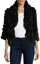 Neiman Marcus Luxury Knit Rabbit Fur Striped Shrug