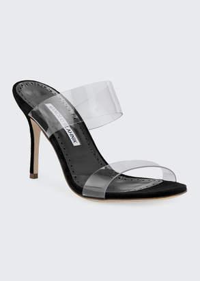 Manolo Blahnik Scolto PVC Two-Strap Sandals