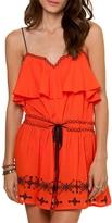 Vix Paula Hermanny Solid Nathalia Embroidered Short Dress