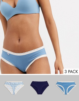 Sloggi 24/7 Weekend 3 pack plain and print cotton briefs in blue