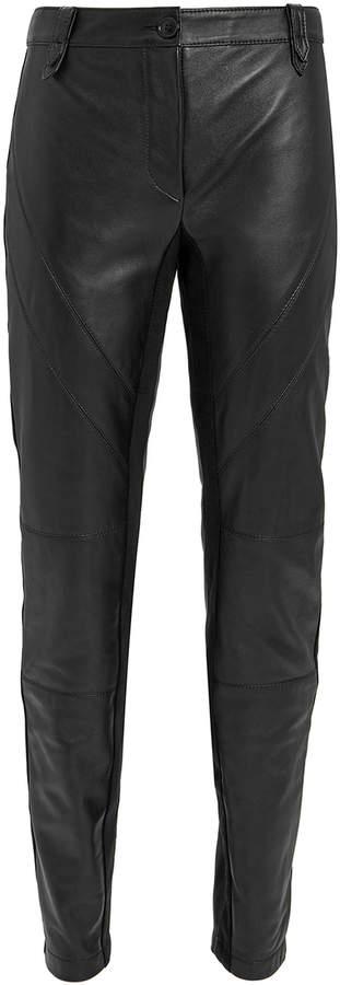 Alberta Ferretti Black Leather Skinny Pants