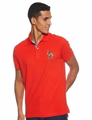 U.S. Polo Assn. Mens Slim Fit Multi Colored Big Logo Solid Pique Polo Shirt - Crimson Fire Red Medium