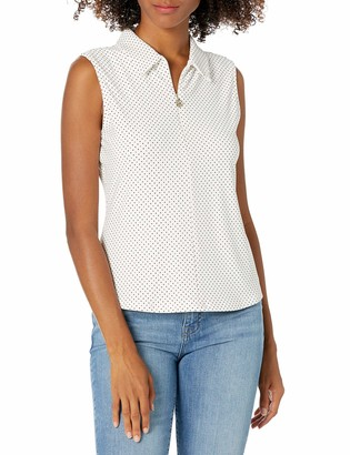 Tommy Hilfiger Women's Dot Print Collared Logo Zip Sleeveless Top