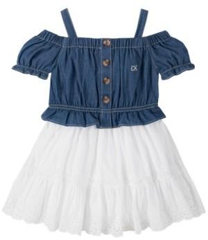 Calvin Klein Little Girls Eyelet Hem Dress, 2 Piece