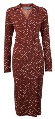 Dorothy Perkins Womens Tall Brown Spotted Midi Wrap Dress, Brown