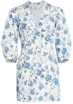 Derek Lam 10 Crosby Ottilie Floral Puff-Sleeve Mini Dress