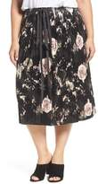 Plus Size Women's Elvi Rose Print Pleated Velvet Pencil Skirt