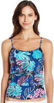 Caribbean Joe Women's Free Spirit Triple Tier Ruffle Tankini