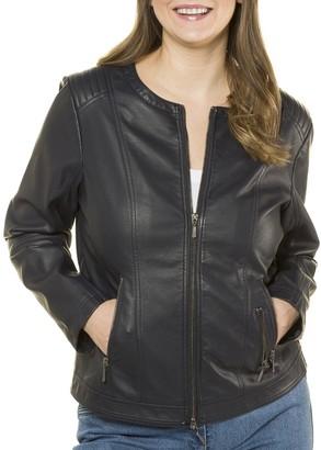 Ulla Popken Short Faux Leather Bomber Jacket with Pockets