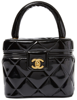 Chanel Vintage Black Quilted Patent Leather Vanity