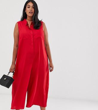 ASOS DESIGN curve casual culotte shirt jumpsuit
