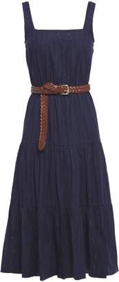 MICHAEL Michael Kors Belted Gathered Cotton-gauze Midi Dress