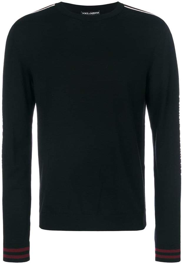 Dolce & Gabbana logo stripe knitted jumper