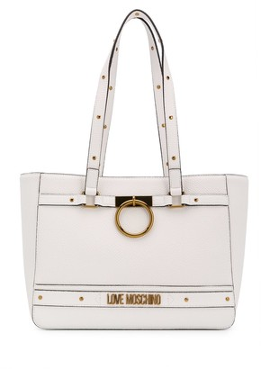 Love Moschino Stud Detail Logo Plaque Tote Bag