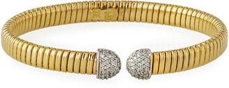 Milani Alberto 18k Gold Tubogas Wide Cuff Bracelet w/ Diamonds