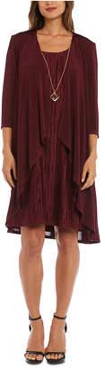 R & M Richards Petite Pleated Metallic Dress, Jacket & Necklace