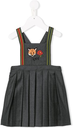 Gucci Kids Fox Embroidered Dungaree Dress