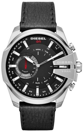 Diesel R) Mega Chief Hybrid Leather Strap Smartwatch, 48mm x 55mm