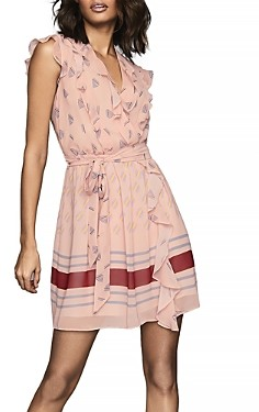 Reiss Stephanie Printed Ruffled Dress