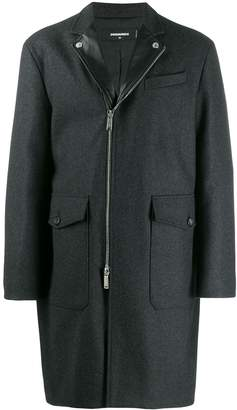 DSQUARED2 leather-trimmed coat