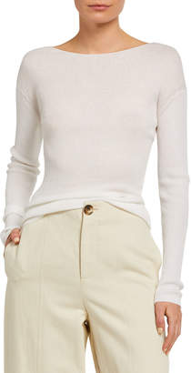 Vince Ribbed Boat-Neck Long-Sleeve Tee