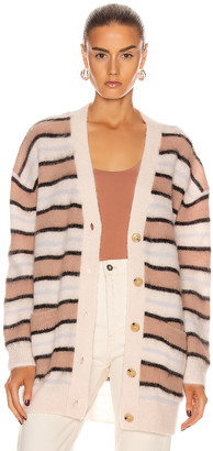 Acne Studios Alpaca Striped Cardigan in Old Pink & Multi | FWRD