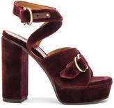 Chloé Velvet Kingsley Sandals in Red.