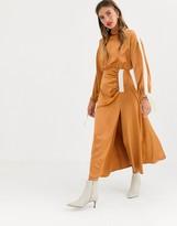 Asos Design DESIGN Copenhagen ruched satin midi dress with herringbone tape