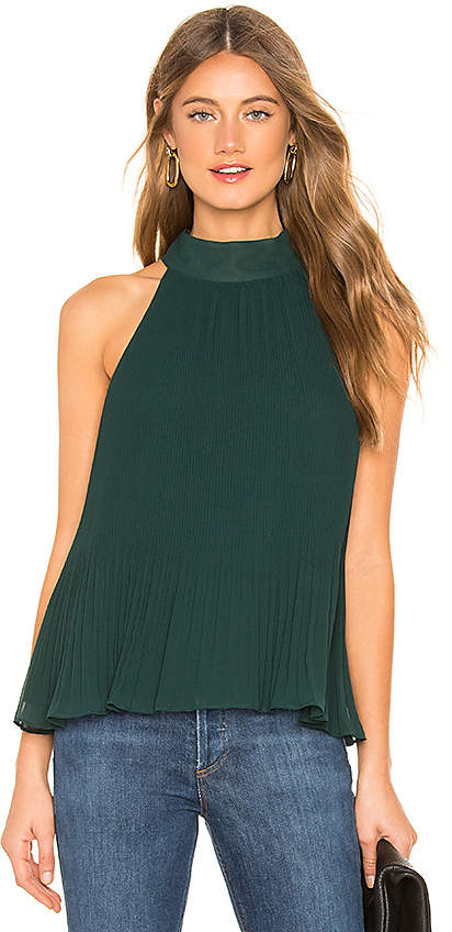 1 STATE Halter Tie Pleated Blouse