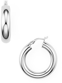 Argentovivo Tube Hoop Earrings in Sterling Silver, 18K Gold-Plated Sterling Silver or 18K Rose Gold-Plated Sterling Silver