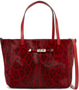 Valentino Studded leopard-print calf hair-effect leather tote