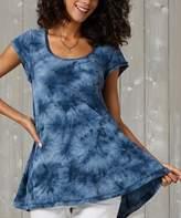 Suzanne Betro Weekend Women's Tunics 101 - Dark Blue Tie-Dye Pleat-Back Hi-Low Tunic - Women & Plus