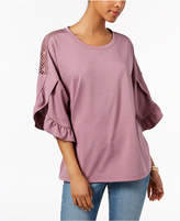 Style&Co. Style & Co Ruffled Crochet-Inset Sweatshirt, Created for Macy's