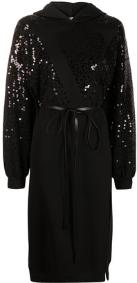 Valentino Sequin-Embellished Hoodie Dress